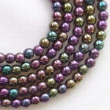 3mm Round Czech Glass Beads  Purple Iris - 100